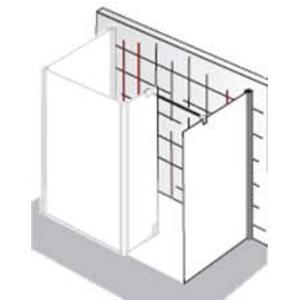 HSK Walk-in Atelier vrijstaande zijwand 90x200cm Chroom / Grijs Glas