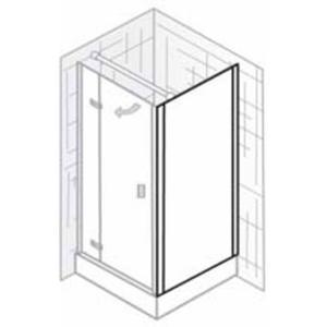 Ben Martino II Zijwand 100x200cm Chroom / Grijs Glas