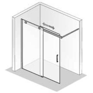 Ben Futura Schuifdeur 2-delig voor bad 120x200cm Chroom/Helder glas