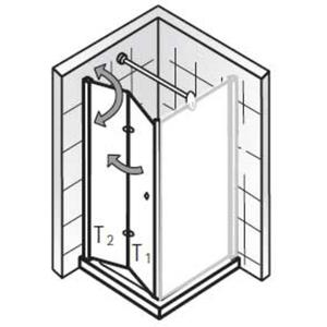 HSK Exklusiv Draai/vouwdeur voor zijwand 90x200cm Chroom/Grijs glas