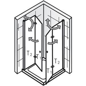 Ben Care Douchecabine Hoekinstap met draaivouwdeur 90x90x200cm Chroom/Helder glas