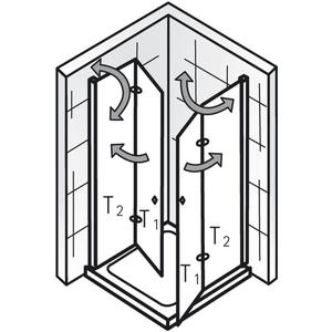Ben Care Douchecabine Hoekinstap met draaivouwdeur 120x120x200cm Chroom/Helder glas
