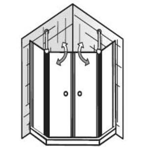 HSK Exklusiv Douchecabine Vijfhoek 4-delig met pendeldeur 100x200cm Chroom/Grijs glas
