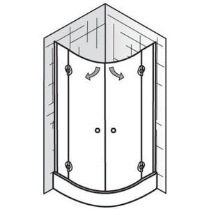 Ben Douchecabine Kwartrond met draaideur 120x185cm Aluminium/Helder glas
