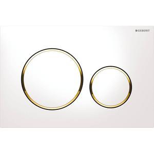 Geberit Sigma 20 bedieningsplaat kleuren:plaat-ring-knop Wit-Goud-Wit