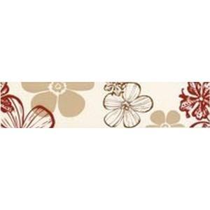Villeroy & Boch Strip Melrose 7X30 1896 Nw35 Flower Rood/Beige
