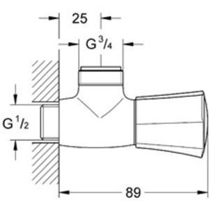 Grohe Costa-L wand tapkraan 3/4 inch Chroom