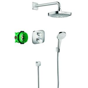 Hansgrohe Croma Select E showerset compleet met Ecostat E thermostaat Chroom
