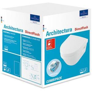 Villeroy & Boch Architectura wandcloset combipack met zitting sc+qr ceramicplus Wit