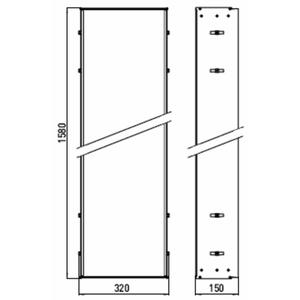 Technische tekening, Emco Asis montageraam 158 x 32 x 15 cm. Aluminium, 972000011