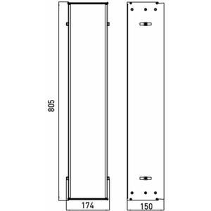 Technische tekening, Emco Asis montageraam 80,5 x 17,4 x 15 cm. Aluminium, 975000051