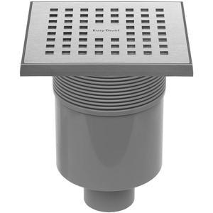 Easydrain Aqua Quattro vloerput abs 15x15cm verticaal RVS Geborsteld