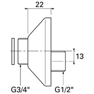 Venlo set s-koppelingen m/roset 1/2 inchx3/4 inch Chroom