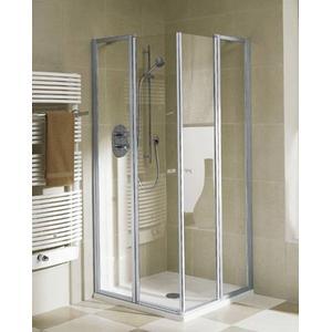 Kermi Ibiza Douchecabine Hoekinstap helft met draaideur 90x185cm Mat zilver/Helder glas