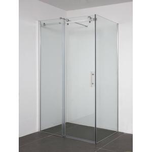 Saqu Lomoni Zijwand voor schuifdeur 90x200cm Aluminium / Helder Glas