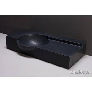 Forzalaqua Laguna wastafel 80x40x12-15cm 1 kraangat Graniet Gezoet