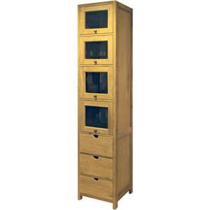 Teak & Living Hoge kast Unf. 220x45x45 cm 3 lades + 4 glazen deuren