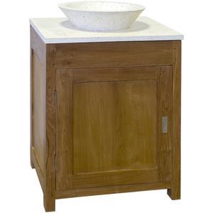 Teak & Living Wastafelmeubel 60x50x90 cm. Incl Top en natuurstenen waskom White