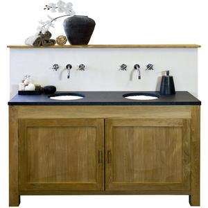 Teak & Living Wastafelmeubelset met 2 deuren 160x50x92 cm Natural Teak/Black