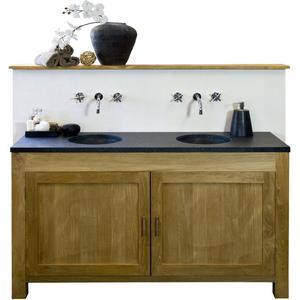 Teak & Living Raster Wastafelmeubelset 160x50x92 cm met 2 deuren Natural Teak/White