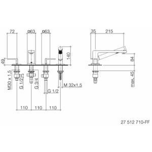 Dornbracht LULU 4-gats badmengkraan voor badrand- en tegelrandmontage Platina Mat