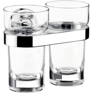 Emco Polo glashouder dubbel met kristal glazen Chroom
