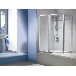 Sealskin Duka Multi badvouwwand 3-dlg 140(B)x140(H) cm zilver hoogglans helder glas