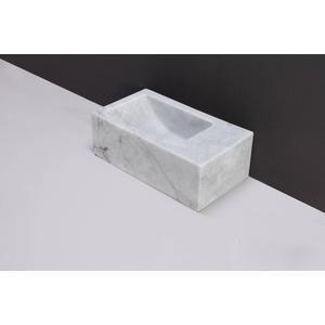 Forzalaqua Venetia XS Fontein Rechts 29x16x10 cm 1 kraangat Carrara Marmer Gepolijst