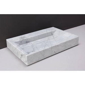 Forzalaqua Bellezza wastafel 80,5x51,5x9cm 2 kraangaten Carrara Marmer Gepolijst