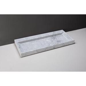 Forzalaqua Bellezza wastafel 120,5x51,5x9cm zonder kraangat Carrara Marmer Gepolijst