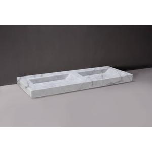 Forzalaqua Bellezza wastafel Dubbel 140,5x51,5x9cm 2 kraangaten Carrara Marmer Gepolijst