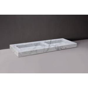 Forzalaqua Palermo wastafel dubbel 140,5x51,5x9cm zonder kraangat Carrara Marmer Gepolijst
