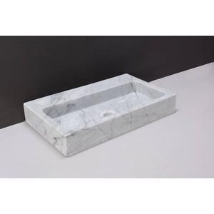 Forzalaqua Taranta wastafel 50x30x8cm 1 kraangat Carrara Marmer Gepolijst