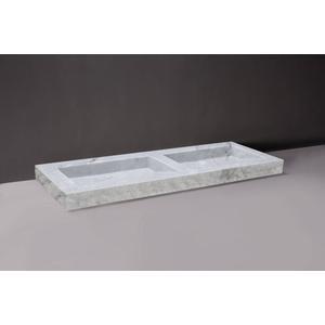 Forzalaqua Palermo wastafel dubbel 140,5x51,5x9cm zonder kraangat Carrara Marmer Gepolijst en Gekapt