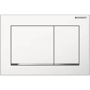 Geberit Omega 30 drukplaat 2-knops front/planchetbediening glans wit/chroom/wit