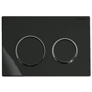 Geberit Omega 20 drukplaat 2-knops front/planchetbediening glans zwart/chroom/zwart