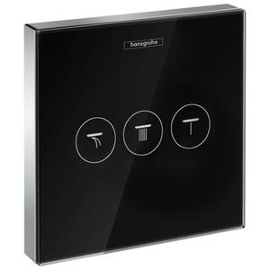 Hansgrohe ShowerSelect afbouwdeel stopkraan drie fucnties glas zwart