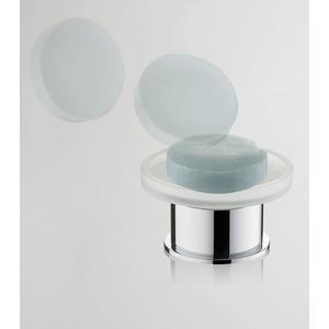 Saqu Vrijstaande glazen zeepschaal Chroom