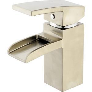 Saqu Cubic Waterfall Wastafelkraan incl. clickwaste Solid Steel