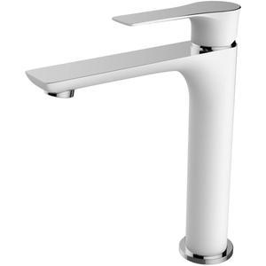 Saqu Design Collection 300 White Edition Wastafelkraan Hoog Wit/chroom
