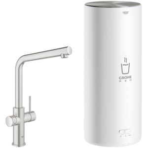 Grohe Red New Duo kokend water kraan met L-uitloop en Combi boiler supersteel