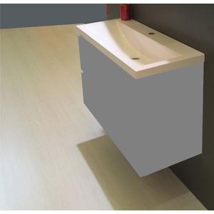 Saqu Studio wastafel 100x36cm 1 kraangat wit