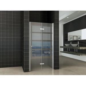 Saqu Essential Nisvouwdeur 100x202cm Links Aluminium-look/Helder glas (antikalk)