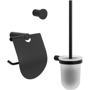 Saqu Black toilet accessoireset 3-in-1 Mat Zwart