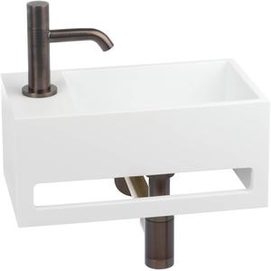 Saqu Tendenza Fonteinset Solid Surface links mat wit/brons rood