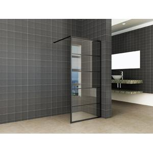 Saqu Industrial Black Douchewand met Nano Glas 100x200 cm Mat Zwart