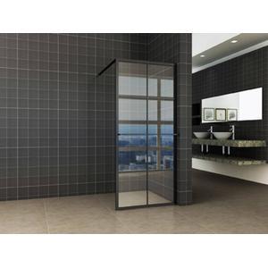 Saqu Industrial Black Douchewand met Nano Glas en Handdoekhouder 100x200 cm Mat Zwart