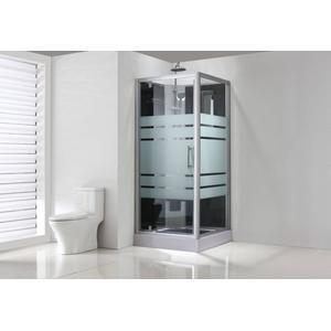Saqu Douchecabine 80x80x225 cm Semi-gesatineerd Glas / Aluminium Mat