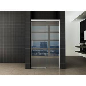 Saqu Douchedeur 120x200 cm met Soft-close Helder Glas / Aluminium