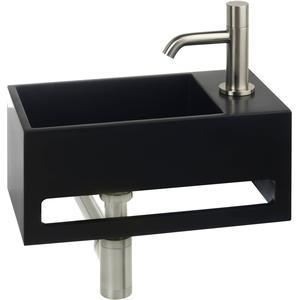 Saqu Tendenza Fonteinset Solid Surface rechts mat zwart/rvs